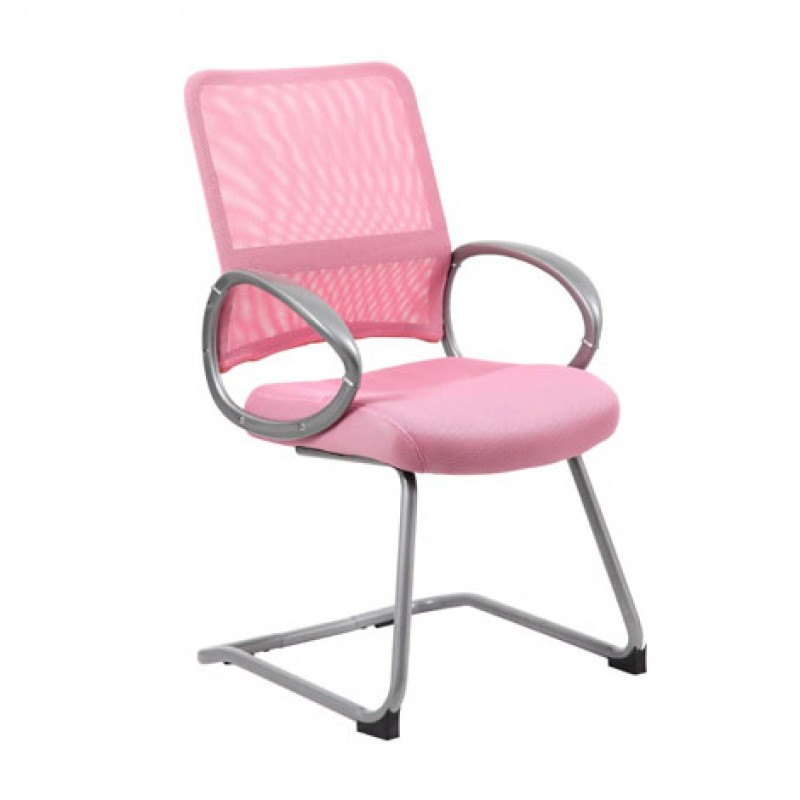 Boss mesh back guest chair w pewter finish loop arms for Affordable furniture 5700 south loop east