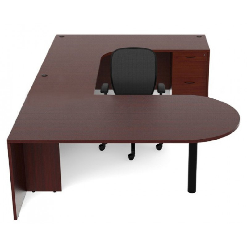 Cherryman Amber U Shaped 66 Quot Laminate Bullet Desk With 35