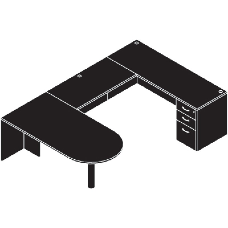 Black U Shaped Desk Bestar Inspace U Shaped Desk With