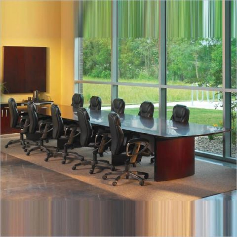 Mayline Napoli Curved End 10 Conference Table With Curved