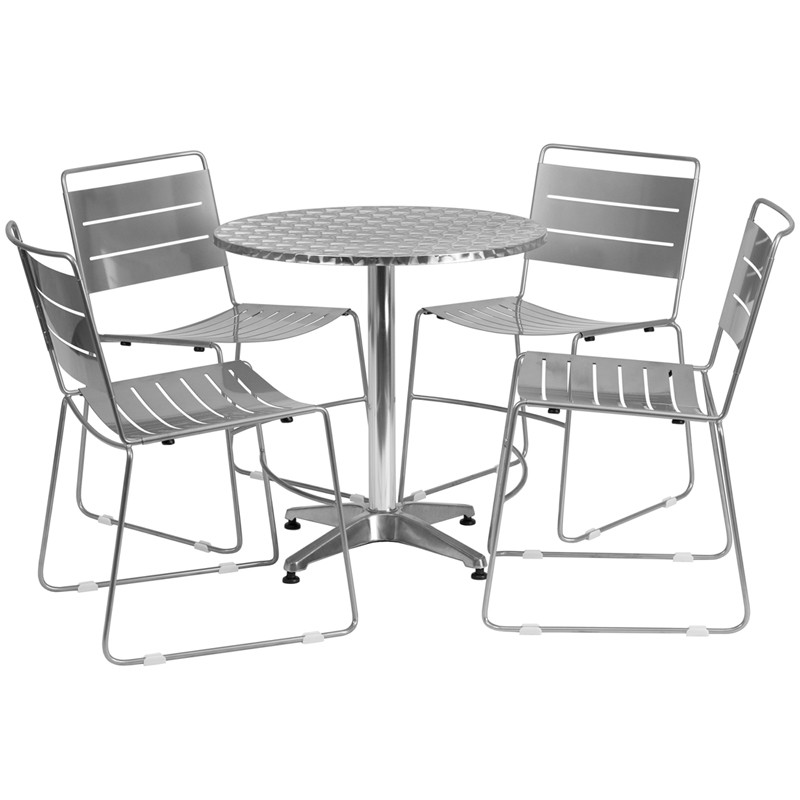 flash furniture 27 5 39 39 round aluminum indoor outdoor table with 4