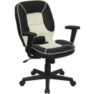 Flash Furniture Mid-Back Black and Cream Vinyl Steno Executive Swivel Office Chair BT-2922-BK-GG