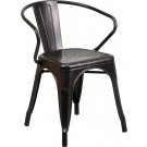 Flash Furniture Black-Antique Gold Metal Indoor-Outdoor Chair with Arms CH-31270-BQ-GG