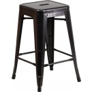Flash Furniture 24'' High Backless Black-Antique Gold Metal Indoor-Outdoor Counter Height Stool with Square Seat CH-31320-24-BQ-GG