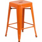Flash Furniture 24'' High Backless Metal Indoor-Outdoor Counter Height Stool with Square Seat