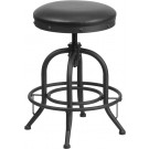 Flash Furniture 24'' Counter Height Stool with Swivel Lift Black Leather Seat ET-BR542-224-GG