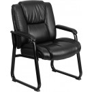 Flash Furniture HERCULES Series 500 lb. Capacity Big & Tall Black Leather Executive Side Chair with Sled Base GO-2138-GG