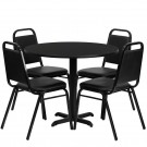 Flash Furniture 36'' Round Black Laminate Table Set with 4 Black Trapezoidal Back Banquet Chairs HDBF1001-GG