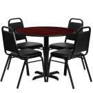 Flash Furniture 36'' Round Mahogany Laminate Table Set with 4 Black Trapezoidal Back Banquet Chairs HDBF1002-GG