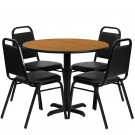 Flash Furniture 36'' Round Natural Laminate Table Set with 4 Black Trapezoidal Back Banquet Chairs HDBF1003-GG