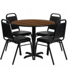 Flash Furniture 36'' Round Walnut Laminate Table Set with 4 Black Trapezoidal Back Banquet Chairs HDBF1004-GG