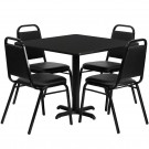 Flash Furniture 36'' Square Black Laminate Table Set with 4 Black Trapezoidal Back Banquet Chairs HDBF1009-GG