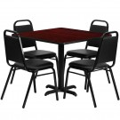 Flash Furniture 36'' Square Mahogany Laminate Table Set with 4 Black Trapezoidal Back Banquet Chairs HDBF1010-GG