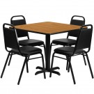 Flash Furniture 36'' Square Natural Laminate Table Set with 4 Black Trapezoidal Back Banquet Chairs HDBF1011-GG