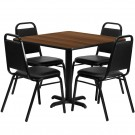Flash Furniture 36'' Square Walnut Laminate Table Set with 4 Black Trapezoidal Back Banquet Chairs HDBF1012-GG