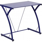 Flash Furniture Contemporary Tempered Blue Glass Computer Desk with Matching Frame NAN-WK-SD-02-BLUE-GG
