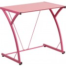 Flash Furniture Contemporary Tempered Pink Glass Computer Desk with Matching Frame NAN-WK-SD-02-PINK-GG