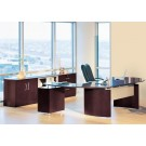 "Mayline Napoli 72"" Desk Set with Curved Extension, Right Return with Pedestal, Center Drawer, Storage Credenza and File NT15"
