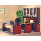 """Mayline Napoli 72"""" Desk Set with Curved Extension, Center Drawer, Left-Hand Bridge, 72""""W Credenza, 72""""W Hutch, Pedestal and Trays NT32"""