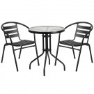 Flash Furniture 23.75'' Round Glass Metal Table with 2 Black Metal Aluminum Slat Stack Chairs TLH-071RD-017CBK2-GG