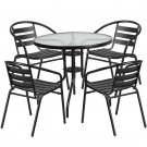 Flash Furniture 31.5'' Round Glass Metal Table with 4 Black Metal Aluminum Slat Stack Chairs TLH-072RD-017CBK4-GG