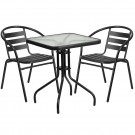 Flash Furniture 23.5'' Square Glass Metal Table with 2 Black Metal Aluminum Slat Stack Chairs TLH-0731SQ-017CBK2-GG