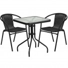 Flash Furniture 23.5'' Square Glass Metal Table with 2 Black Rattan Stack Chairs TLH-0731SQ-037BK2-GG