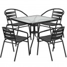 Flash Furniture 31.5'' Square Glass Metal Table with 4 Black Metal Aluminum Slat Stack Chairs TLH-0732SQ-017CBK4-GG