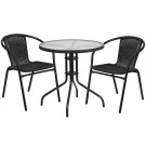 Flash Furniture 28'' Round Glass Metal Table with Rattan Edging and 2 Rattan Stack Chairs