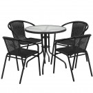 Flash Furniture 28'' Round Glass Metal Table with Rattan Edging and 4 Rattan Stack Chairs