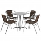 Flash Furniture 23.5'' Square Aluminum Indoor-Outdoor Table with 4 Rattan Chairs