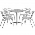 Flash Furniture 27.5'' Square Aluminum Indoor-Outdoor Table with 4 Slat Back Chairs TLH-ALUM-28SQ-017BCHR4-GG