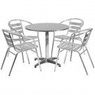 Flash Furniture 31.5'' Round Aluminum Indoor-Outdoor Table with 4 Slat Back Chairs TLH-ALUM-32RD-017BCHR4-GG