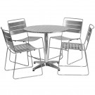 Flash Furniture 31.5'' Round Aluminum Indoor-Outdoor Table with 4 Metal Stack Chairs