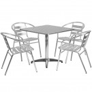 Flash Furniture 31.5'' Square Aluminum Indoor-Outdoor Table with 4 Slat Back Chairs TLH-ALUM-32SQ-017BCHR4-GG