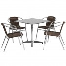 Flash Furniture 31.5'' Square Aluminum Indoor-Outdoor Table with 4 Rattan Chairs