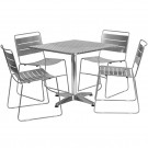 Flash Furniture 31.5'' Square Aluminum Indoor-Outdoor Table with 4 Metal Stack Chairs