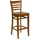 Flash Furniture HERCULES Series Cherry Finished Ladder Back Wooden Restaurant Barstool XU-DGW0005BARLAD-CHY-GG