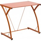 Flash Furniture Contemporary Tempered Orange Glass Computer Desk with Matching Frame NAN-WK-SD-02-OR-GG