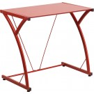 Flash Furniture Contemporary Tempered Red Glass Computer Desk with Matching Frame NAN-WK-SD-02-RED-GG