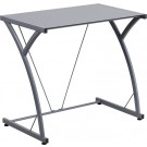 Flash Furniture Contemporary Tempered Silver Glass Computer Desk with Matching Frame NAN-WK-SD-02-SIL-GG