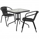 Flash Furniture 28'' Square Glass Metal Table with Rattan Edging and 2 Rattan Stack Chairs